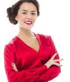 Sonriente mujer atractiva — Foto de Stock