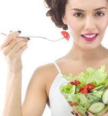 Woman is eating salat — Stock Photo