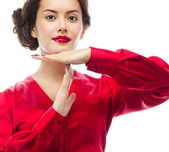Woman with with time out gesture — Stock Photo