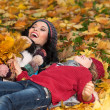Woman autumn — Stock Photo