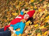 Woman autumn — Stock Photo
