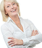 Old woman beauty business — Stock Photo
