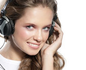 Woman beauty with headphones — Stock fotografie