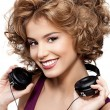Woman beauty with headphones — Stock Photo
