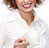 Mujer de negocios con taza — Foto de Stock