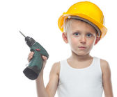 Cute boy in helmet — Stock Photo
