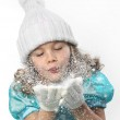 Girl blowing snow — Stock Photo #4438130