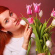 Lovely girl with tulips — Stock Photo #10216640