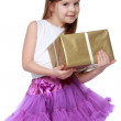 Adorable girl with present box — Stock Photo