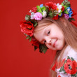 Image of cute little girl dressed in traditional Ukrainian on Valentine Day — Stock Photo