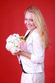 Mulher linda primavera com flores — Fotografia Stock