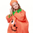 Girl dressed as a pumpkin — Stock Photo