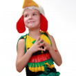 A little girl dressed as a rooster — Stok fotoğraf