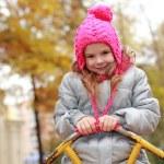 Ukrainian little girl at autumn time — Stock Photo