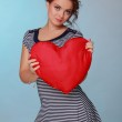 Girl with symbol of heart — Stock Photo #18016563
