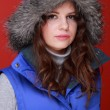 Portrait оf a beautiful woman in warm clothing winter — Stock Photo