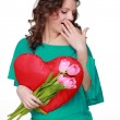 Girl with symbol of heart and tulips — Foto Stock