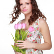 Girl with spring flower — Stock Photo