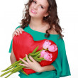 Portrait of a girl with tulips — Stock Photo