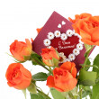 Roses with a valentines day card — Stock Photo #19443885