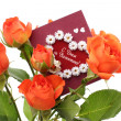 Roses with a valentines day card — Stock Photo #19444235