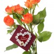 Roses with valentines day card — Stock Photo #19444241