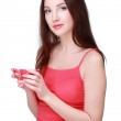 Woman with red cup — Stock Photo
