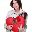 Girl with symbol of heart and rose — Stock Photo #19880353