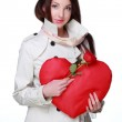 Girl with symbol of heart and rose — Stock Photo #19880359