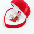 Red velvet box for jewelry - ストック写真
