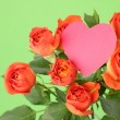 Image of blossom roses with heart symbol  — Stock Photo