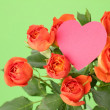 Image of blossom roses with heart symbol — Stock Photo #21534125