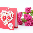 Lovely heart shape with floral ornament greeting card — Foto Stock