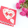 Lovely heart shape with floral ornament greeting card — Stock Photo
