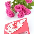 Lovely heart shape with floral ornament greeting card — Foto de Stock