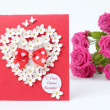 Lovely heart shape with floral ornament greeting card — Zdjęcie stockowe