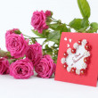 Lovely heart shape with floral ornament greeting card — Stock Photo #21534341