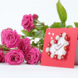 Lovely heart shape with floral ornament greeting card — Stok fotoğraf