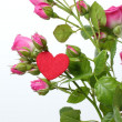 Romantic heart symbol and flowers on Happy Valentine — Foto de Stock