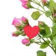 Romantic heart symbol and flowers on Happy Valentine — Stock Photo