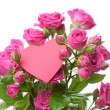 Stock Photo: Romantic heart symbol and flowers on Happy Valentine