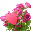 Roses bouquet with pink heart — Stock Photo