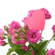 Roses bouquet with pink heart - Stock Photo