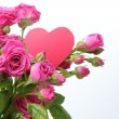 Roses bouquet with pink heart — Lizenzfreies Foto