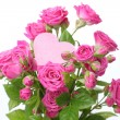 Roses bouquet with pink heart — Stockfoto