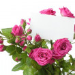 Greeting card with roses — Stock Photo