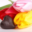 Tulips with candy — Stock Photo #21540897