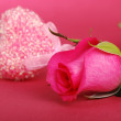 Gorgeous rose with pink heart for greeting card — Stock Photo
