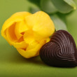 Royalty-Free Stock Photo: yellow tulip with chocolate candy