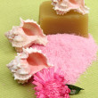 Decoration of sea salt, spa soap, beautiful sea shells and pink flower — Stock Photo
